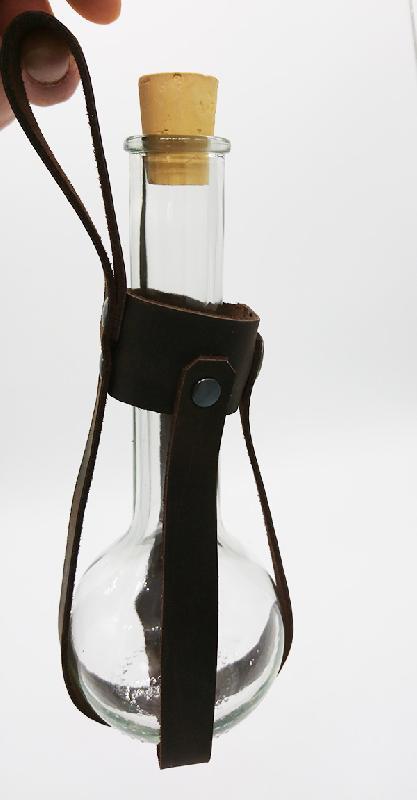 Lederwelten Flaschenhalter 0,2 Liter Glas braun