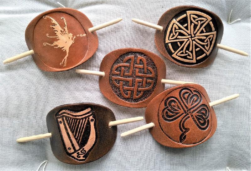 Lederwelten keltische Harfe Haarspange