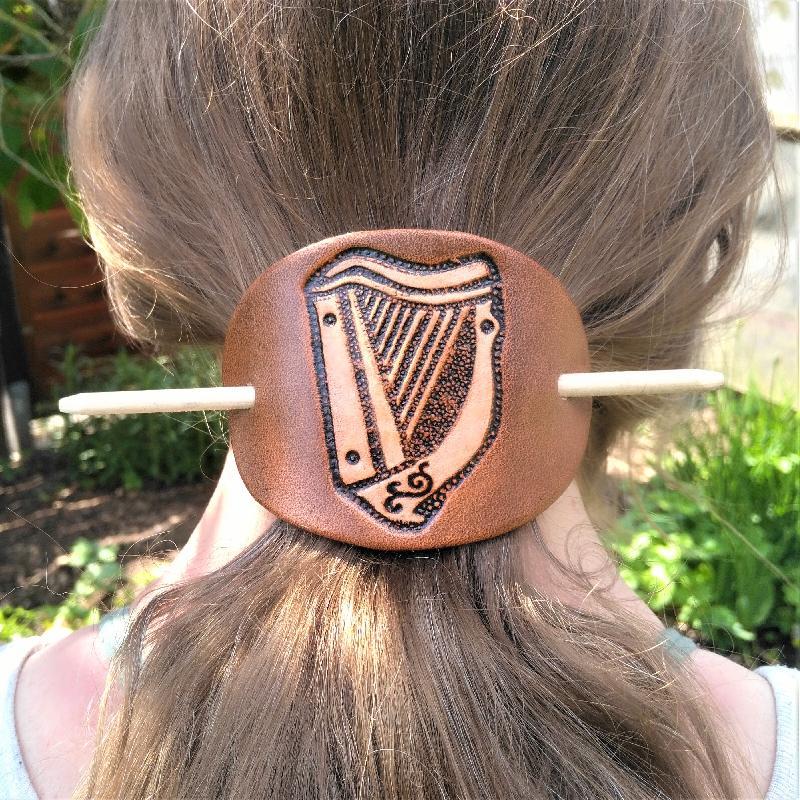 Haarspange keltische Harfe