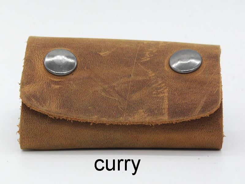 Lederwelten kleine Schlüsselmappe Etui curry / d.braun / schwarz