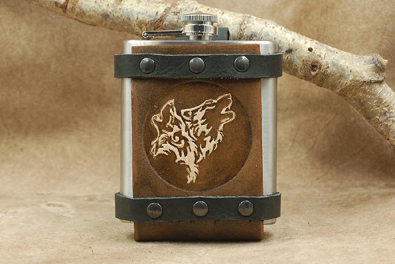 Lederwelten Medizinflasche Medizinflasche 2 Wölfe