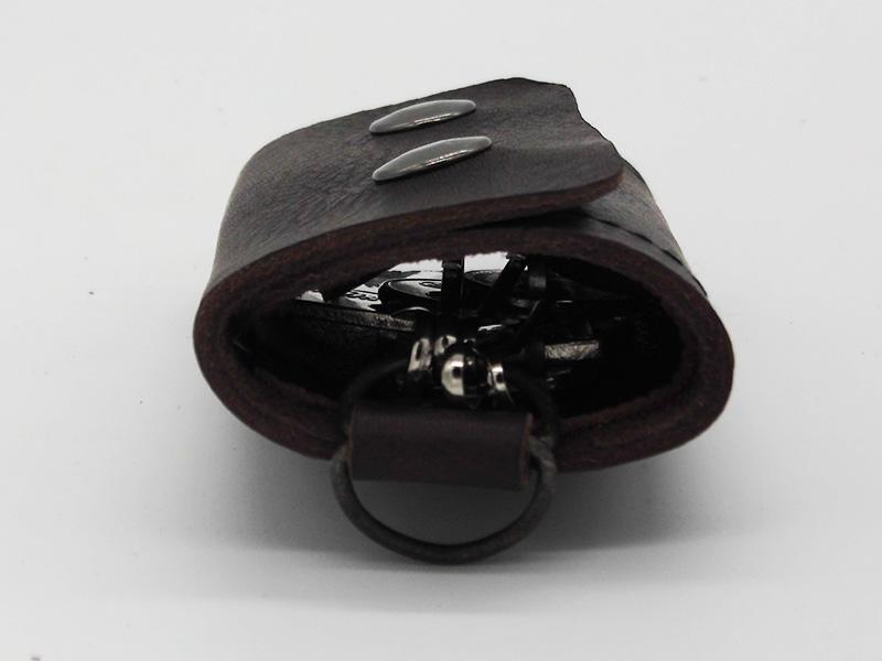 Lederwelten Schlüsselmappe Etui d.braun / braun / schwarz