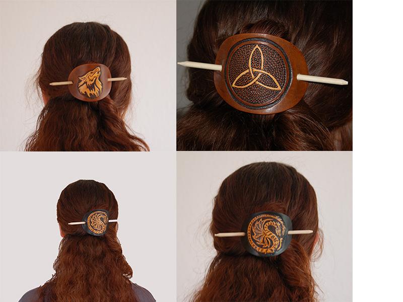 Lederwelten Totenkopf Haarspange