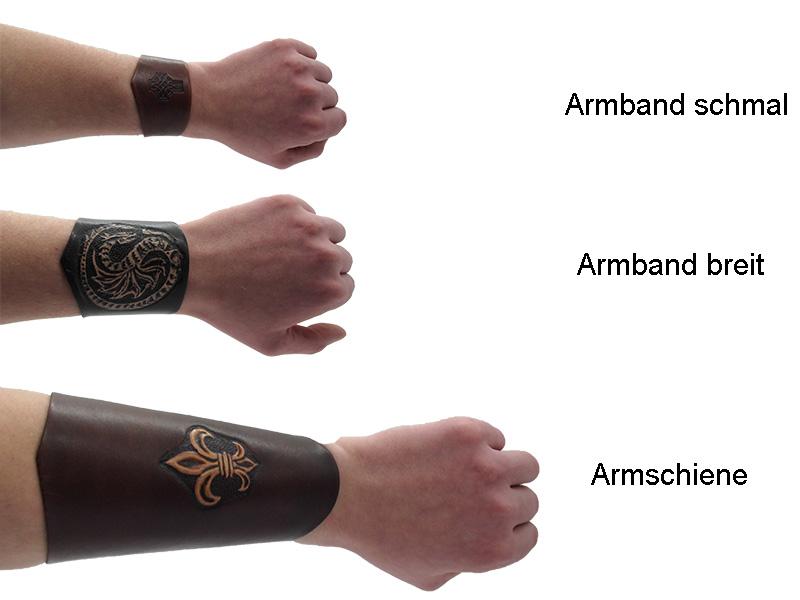 Lederwelten Triskele Armschiene schwarz / braun / blond